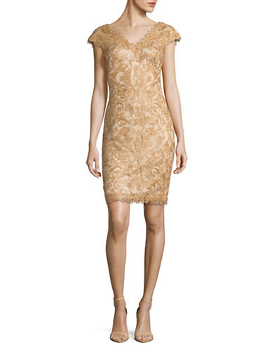 Tadashi Shoji Corded Lace Cap Sleeve Sheath Dress-GOLD-16