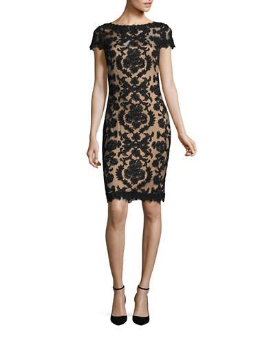 Tadashi Shoji Lace Sheath Dress-BLACK-2