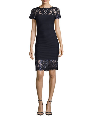 Tadashi Shoji Pintucked Bodycon Dress with Sequined Lace-NAVY-8