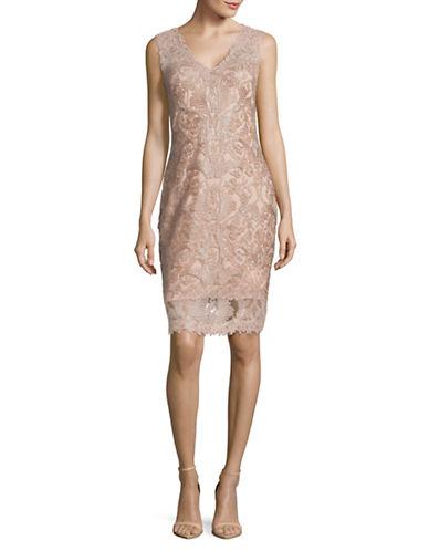 Tadashi Shoji Illusion Lace Sheath Dress-PINK-16