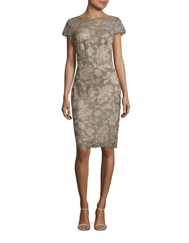 Tadashi Shoji Cap Sleeve Corded Lace Sheath Dress-GREY-12
