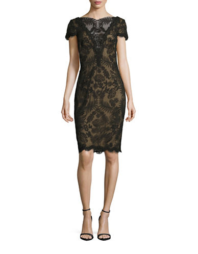 Tadashi Shoji Corded Illusion Lace Sheath Dress-BLACK NUDE-4
