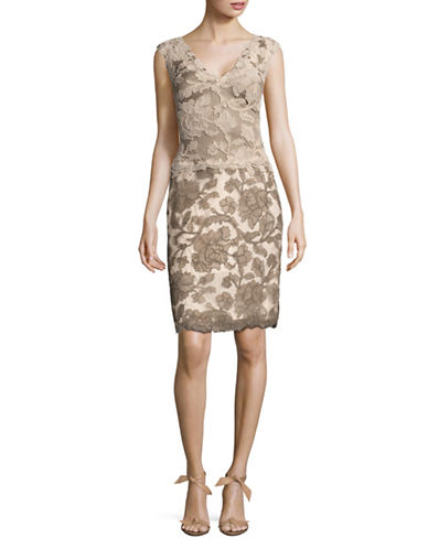 Tadashi Shoji Corded Lace Sleeveless Sheath Dress-LATTE-12