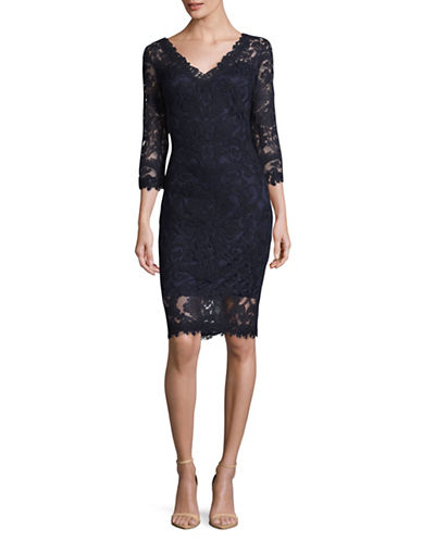 Tadashi Shoji Embroidered Lace Sheath Dress-NAVY-12