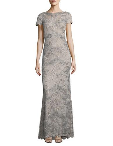 Tadashi Shoji Metallic Lace Ballet Neck Sheath Gown-GREY-16