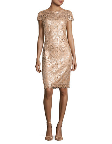 Tadashi Shoji Allover Sequined Lace Sheath Dress-BEIGE-10