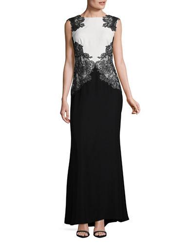 Tadashi Shoji Lace Top Crepe Skirt Gown-BLACK/WHITE-14