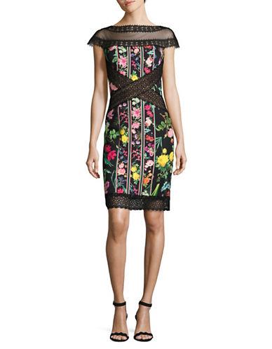 Tadashi Shoji Illusion Floral Print Sheath Dress-BLACK MULTI-12