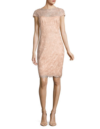 Tadashi Shoji Scalloped Ballet Lace Sheath Dress-PINK/GOLD-12