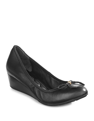 Cole Haan Tali Leather Wedge-BLACK-9.5