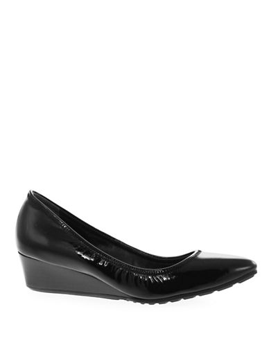 Cole Haan Almond Toe Patent Wedge-BLACK-8