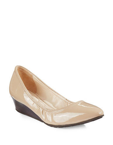 Cole Haan Tali Luxe Patent Leather Wedge Pumps-BROWN-8.5