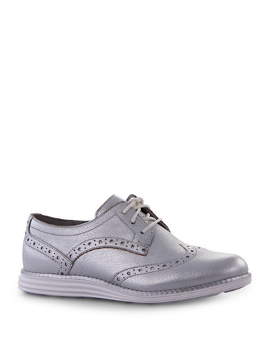 Cole Haan Leather Oxford Shoes-SILVER-11
