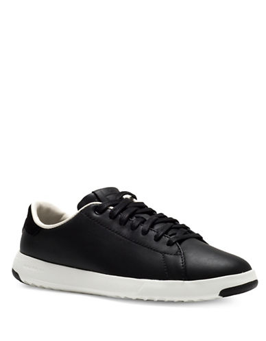 Cole Haan Leather Lace-Up Tennis Sneakers-BLACK-9.5
