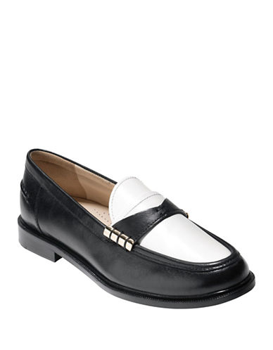 Cole Haan Mazie Leather Two-Tone Loafers-WHITE-8