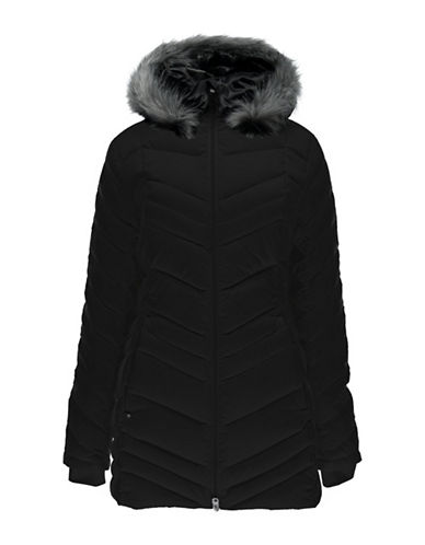 Spyder Timeless Faux Fur Trim Quilted Jacket-BLACK-Large 88800352_BLACK_Large