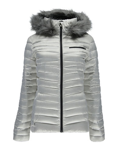 Spyder Timeless Hoody Faux Fur Trim Quilted Jacket-WHITE-Medium 88800361_WHITE_Medium