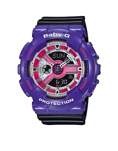 Casio Baby G Resin Band Analog Watch-BLACK/PURPLE-One Size