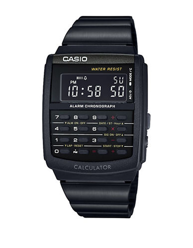 Casio Vintage Black Digital Calculator Bracelet Watch-BLACK-One Size