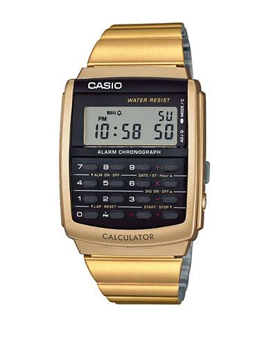 Casio Vintage Goldtone Digital Calculator Bracelet Watch-GOLD-One Size