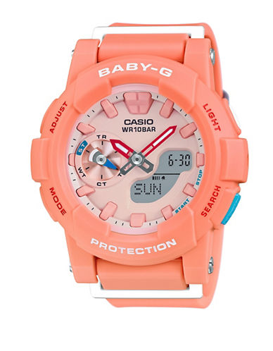 Casio Ana-Digi Runner BABY G Resin Watch-CORAL-One Size