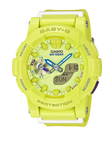 Casio Ana-Digi Runner BABY G Resin Watch-YELLOW-One Size