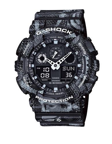 Casio Ana-Digi Limited Edition G Shock Black Snake Print Chronograph Watch-BLACK-One Size