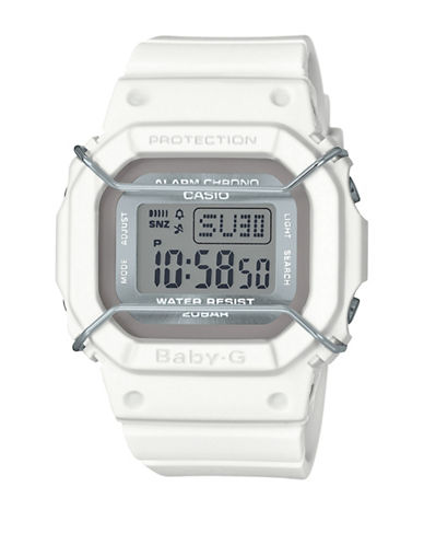 Casio Digital Urban Military BABY G White Resin Strap Watch-WHITE-One Size