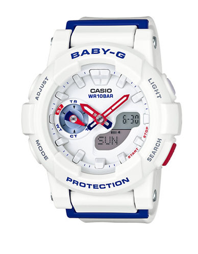 Casio Ana-Digi Tri Colour Series BABY G Resin Watch-WHITE-One Size