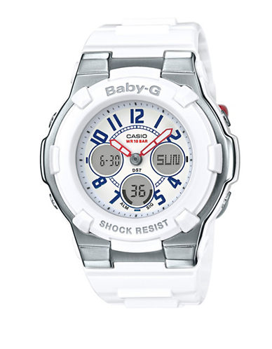 Casio Ana-Digi Tri Colour Series BABY G Silvertone and White Resin Strap Watch-WHITE-One Size