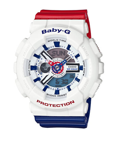 Casio Ana-Digi Tri Colour Series BABY G Resin Strap Watch-WHITE-One Size