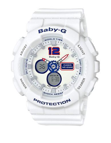 Casio Ana-Digi Tri Colour Series BABY G White Resin Strap Watch-WHITE-One Size