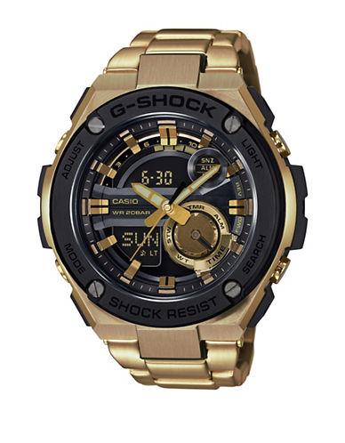 Casio Ana-Digi G-Shock Casio G-Steel Goldtone Stainless Steel Link Bracelet Watch-GOLD-One Size