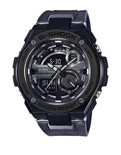 Casio Ana-Digi G-Shock G-Steel with Resin Band Watch-BLACK-One Size