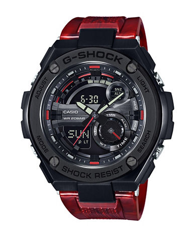 Casio Ana-Digi G-Shock G-Steel with Red Resin Band Watch-RED-One Size