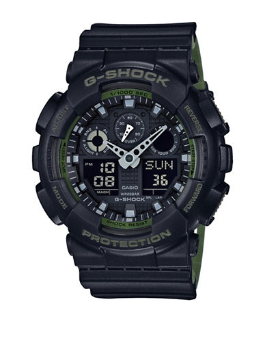 Casio Analog-Digital Resin Shock Watch-BLACK-One Size
