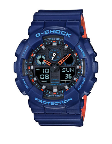 Casio Analog-Digital Resin Shock Watch-BLUE-One Size