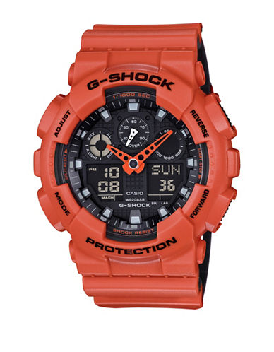 Casio Analog-Digital Resin Shock Watch-ORANGE-One Size