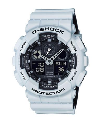 Casio Analog-Digital Resin Shock Watch-WHITE-One Size