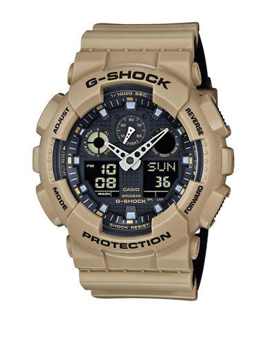 Casio Analog-Digital Resin Shock Watch-BEIGE-One Size