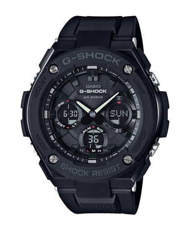 Casio Ana-Digi G-Shock G-Steel with Black Resin Band Watch-BLACK-One Size