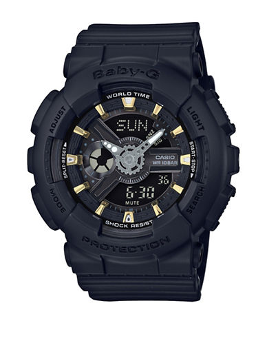 Casio Analog Goldtone Accent Series Resin Strap Watch-BLACK-One Size