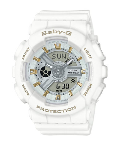 Casio Analog Goldtone Accent Series Resin Strap Watch-WHITE-One Size