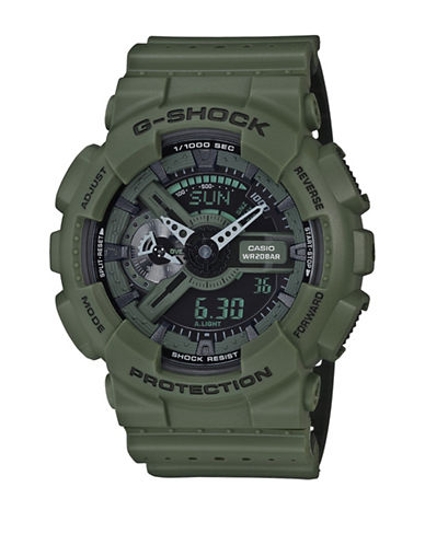 Casio Analog Military G Shock Resin Strap Watch-GREEN-One Size