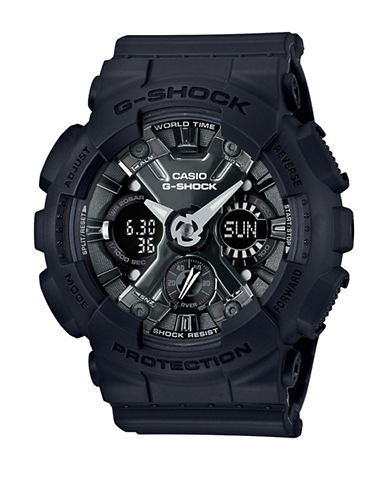 Casio Digital Chronograph S Series Resin Strap Watch-BLACK-One Size