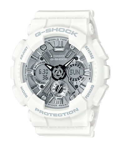 Casio Digital Chronograph S Series Resin Strap Watch-WHITE-One Size