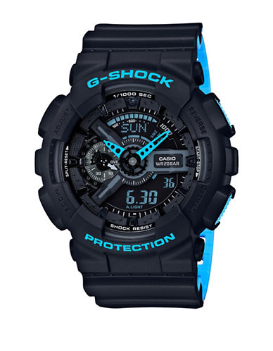 Casio Analog G Shock Resin Strap Watch-BLACK-One Size