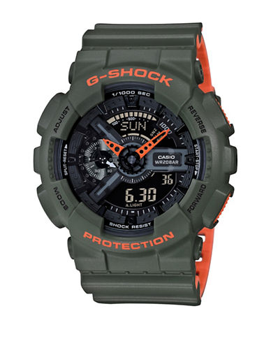 Casio Analog G Shock Neon Resin Strap Watch-GREEN-One Size