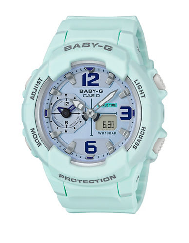 Casio Digital Baby G Dual Time Resin Strap Watch-GREEN-One Size