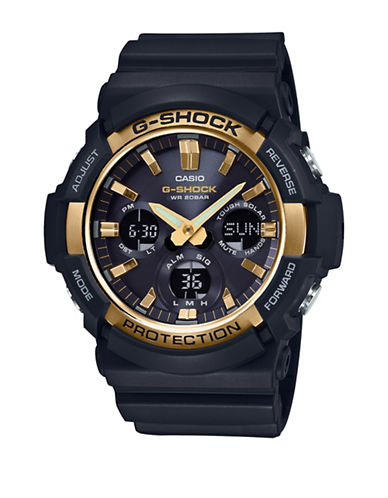 Casio G-Shock Solar Stainless Steel Resin Strap Watch-BLACK-One Size